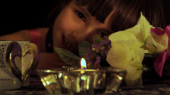 Romantic Girl - Holiday Candle, Flowers and Gift Box - 03 Stock Footage