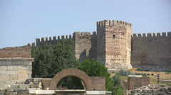 Turkey Ayasoluk Castle zoomed in Stock Footage