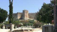 Turkey Ayasoluk Castle beyond ruin piles Stock Footage