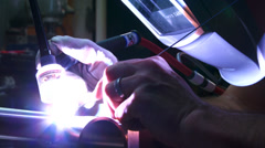 Welding aluminium parts together - stock footage