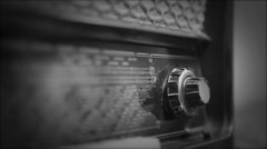 Very old Retro Radio, Hand Changing Stations, selective focus - stock footage
