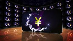 Yen Symbols in Monitors Room Stock Footage