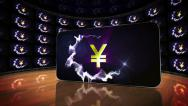 Stock Video Footage of Yen Symbols in Monitors Room