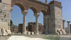 Stock Video Footage of Turkey Ephesus Basilica of St John archways