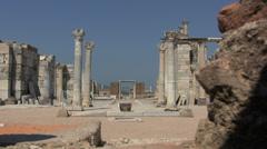 Turkey Ephesus Tomb of St John through hole in brick structure Stock Footage