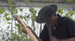 ASIAN WORK & CRAFTS: MS Man makes pole in mangroves Stock Footage