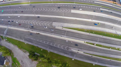 Aerial video of a multiple lane highway in South Florida Stock Footage