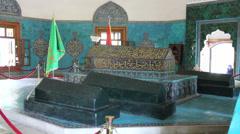 Turkey Bursa Yesil Turbe (Green Tomb) sarcophagi c Stock Footage