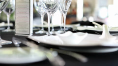 Fine Dining Table Setting Stock Footage