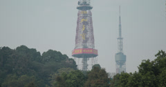 4K video of the telecom tower in Luhu park, Guangzhou, China Stock Footage