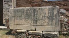 Ephesus Basilica of St John grave stone carving Stock Footage