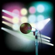 Abstract background with microphone on music stage Stock Illustration