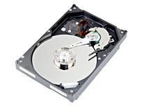 open harddisk on white background. - stock photo