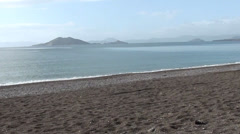 Panorama of empty beach Stock Footage