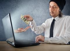 online money funds, businessman giving money - stock photo