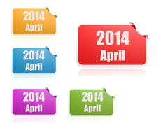 april of 2014 - stock illustration