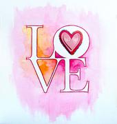 word love over abstract watercolor painting and red heart - stock illustration