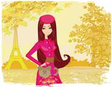 Stock Illustration of paris in the autumn, beautiful women shopping