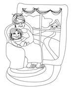 Grandmother hugs her granddaughter - hand drawn illustration Stock Illustration