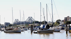 Beautiful Riverview at Brisbane River Banks, with Story Bridge in the background Stock Footage