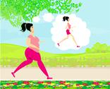 Stock Illustration of young woman jogging,fat girl dreams to be a skinny girl