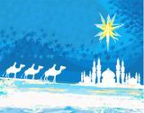 Stock Illustration of classic three magic scene and shining star of bethlehem