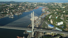 Vladivostok. Cable-stayed Bridge Zolotoy Rog. Flight over the City Stock Footage