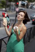 warm weather, woman - stock photo