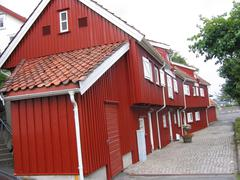 Wooden houses in Nusnas in Norway - stock photo
