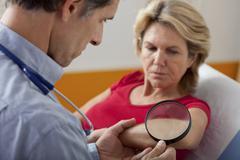 Dermatology, symptomatology elde Stock Photos