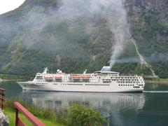 Cruiseship in Geirangerfjord in Norway Stock Photos