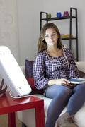 woman light therapy - stock photo