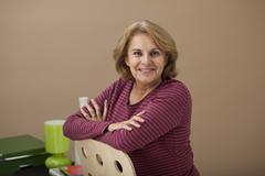portrait woman in 50s - stock photo