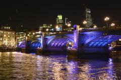 Southwark bridge at night. london. england Stock Photos