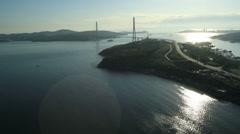 Russky Island Bridge. Flight over the Vladivostok harbor Stock Footage