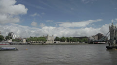 Pan from the Tower of London to Tower Bridge during the 2012 Olympics Stock Footage