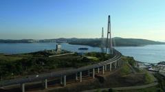Vladivostok. Cable-stayed Russky Bridge. Flight over the City Stock Footage