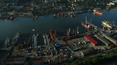 Flight over the Vladivostok harbor - stock footage