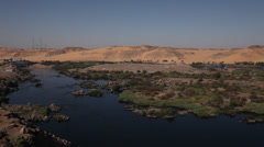 Panoramic view of the Nile near Aswan, Egypt Stock Footage