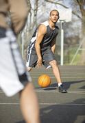 Basketball game of one on one Stock Photos