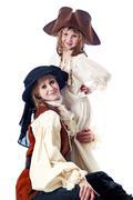 Pirates And Ladies On White Background Stock Photos