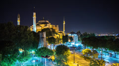 HD time lapse of the Hagia Sophia in Istanbul at night - stock footage