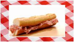 Sandwiches edited sequence over red tablecloth background Stock Footage