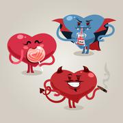 funny valentine's hearts with demon - stock illustration