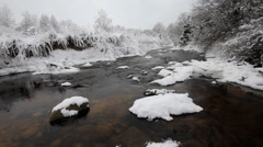 Winter river  hoarfrost and fluffy snow Stock Footage