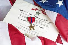 American Army Bronze Star For Heroism - stock photo