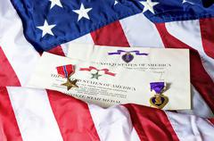 Bronze Star And Purple Heart Medals and Awards - stock photo