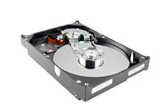 the picture hard drive open the top cover off. - stock photo