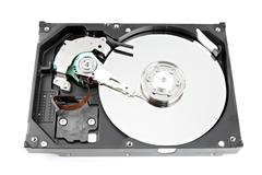 The hard drive open the top cover off. Stock Photos