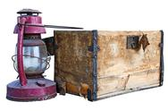 Stock Photo of Old Chest And Weathered Lantern